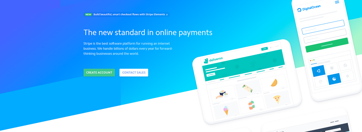 Main Headline presenting Stripe as the new Online payment standard