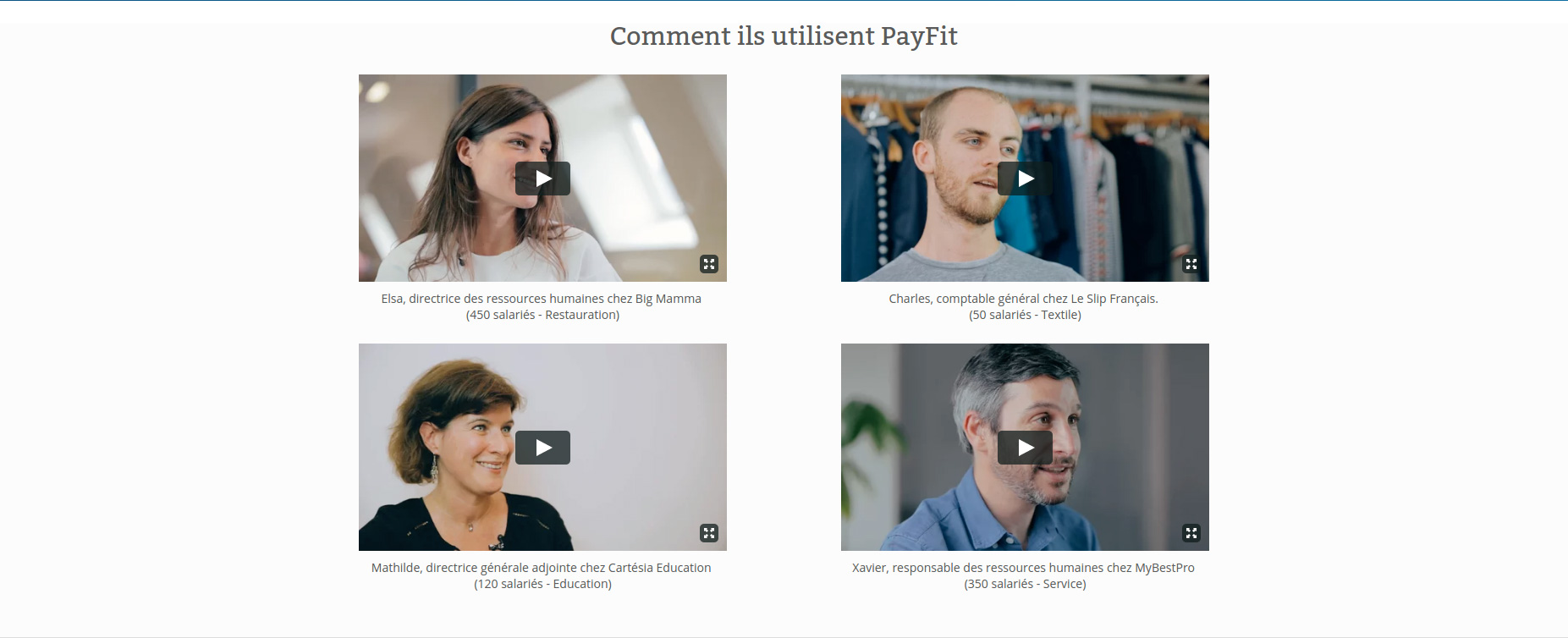 Video testimonials on Payfit's website